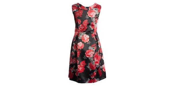 Dámské černé šaty s červenými květy CeMe London