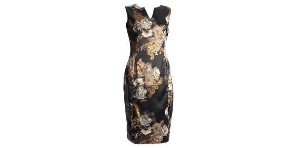 Dámské černé šaty s japonskými květy CeMe London