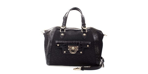 Dámská černá kabelka se vzorem DKNY