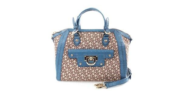 Dámská modro-hnědá kabelka se vzorem DKNY