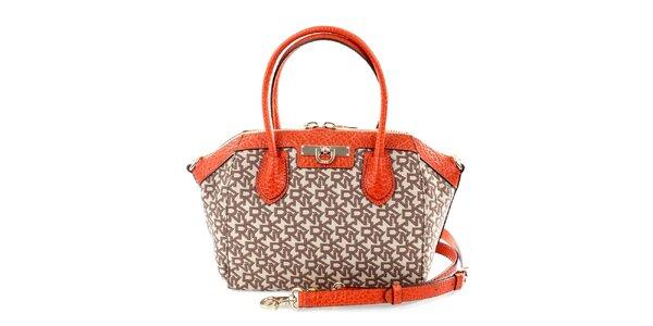 Dámská oranžovo-hnědá kabelka se vzorem DKNY