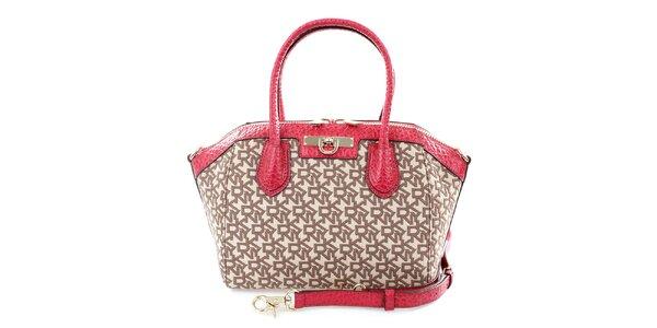 Dámská červeno-hnědá kabelka se vzorem DKNY