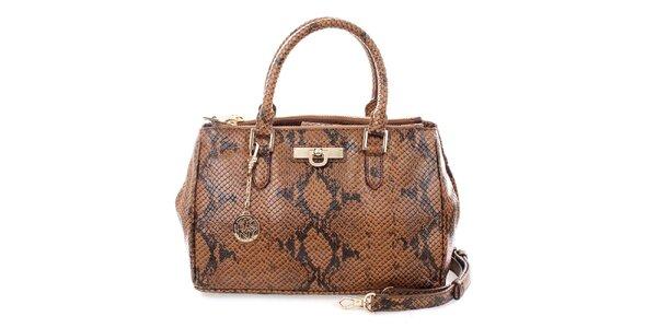 Dámská hnědá kabelka s hadím potiskem DKNY