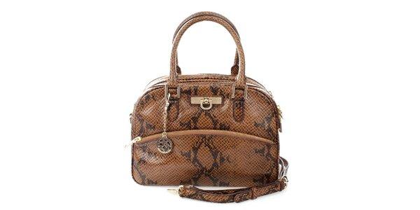 Dámská tmavě hnědá kabelka s hadím vzorem DKNY