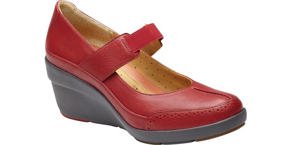 Dámské červené kožené lodičky Clarks