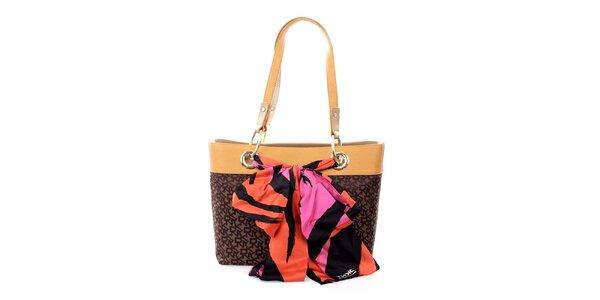 Dámská hnědá kabelka s barevným šátkem DKNY