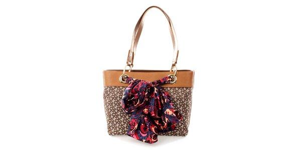 Dámská světle hnědá kabelka s barevným šátkem DKNY