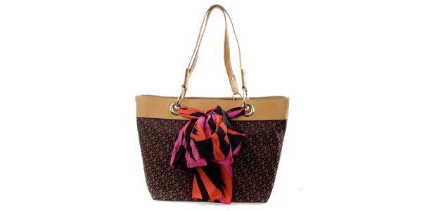 Dámská velká hnědá kabelka s barevným šátkem DKNY