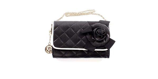 Dámské černé prošívané psaníčko s květinou DKNY