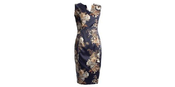 Dámské tmavě modré šaty s japonskými květy CeMe London