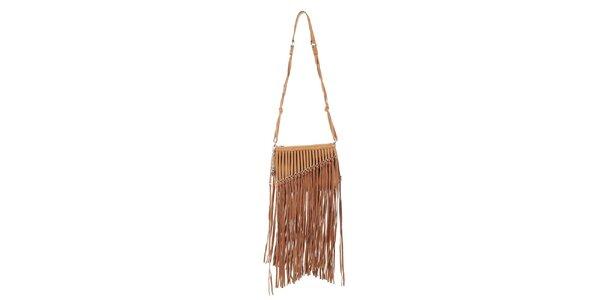 Dámská okrová indiánská kabelka s třásněmi DKNY