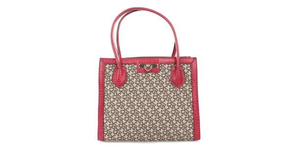 Dámská červeno-béžová kabelka se zámečkem DKNY