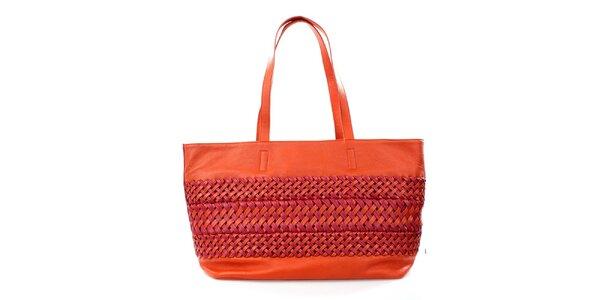 Dámská oranžovo-růžová kabelka s pletením DKNY