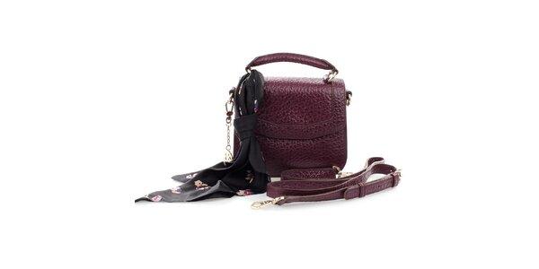 Dámská vínová kožená kabelka s šátkem DKNY