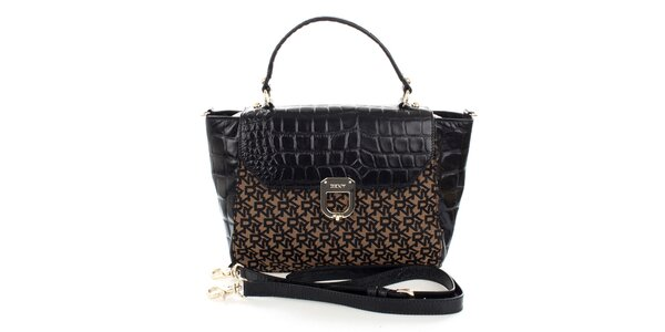 Dámská černo-hnědá kabelka s monogramem DKNY