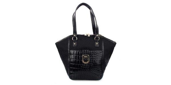 Dámská černá kabelka s krokodýlím vzorem DKNY