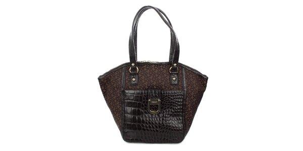 Dámská hnědá kabelka s krokodýlím vzorem DKNY