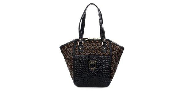 Dámská černo-hnědá kabelka s krokodýlím vzorem DKNY
