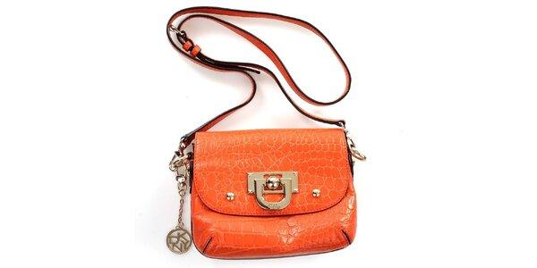 Dámská oranžová kabelka s krokodýlím vzorem DKNY