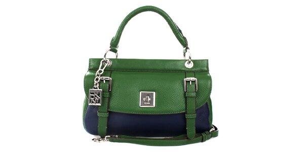 Dámská zeleno-modrá kožená kabelka se zámečkem DKNY