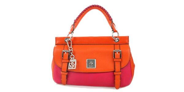 Dámská oranžovo-růžová kožená kabelka se zámečkem DKNY