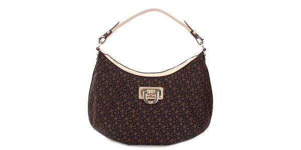 Dámská hnědá kabelka s monogramem a béžovými detaily DKNY