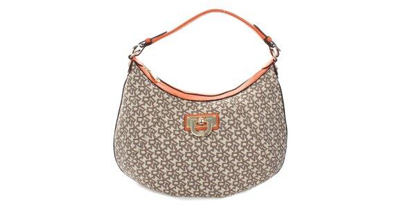 Dámská béžová kabelka s monogramem a oranžovými detaily DKNY