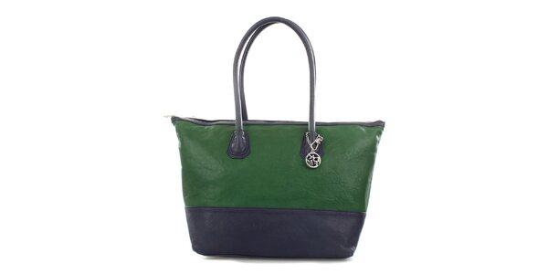 Dámská černo-zelená kožená kabelka DKNY