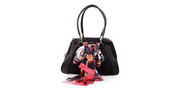Dámská černá kabelka s monogramem a šátkem DKNY