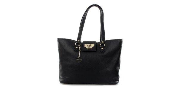 Dámská černá kožená kabelka DKNY