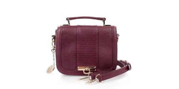 Dámská vínovo-fialová kabelka se zámečkem DKNY