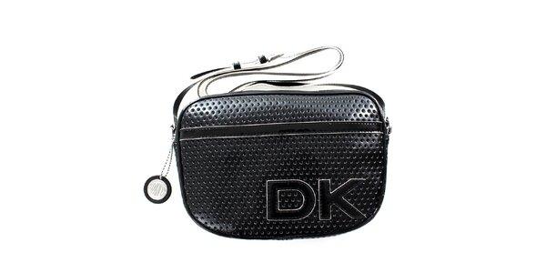 Dámská černá perforovaná kabelka s popruhem DKNY