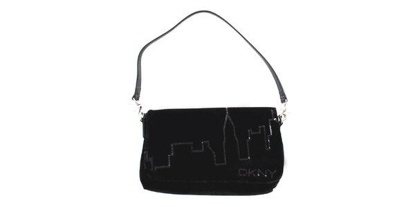 Dámská černá sametová kabelka DKNY