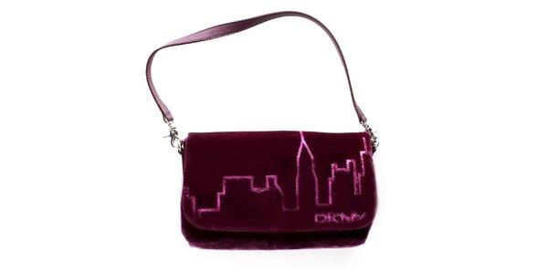 Dámská fialovo-vínová sametová kabelka DKNY