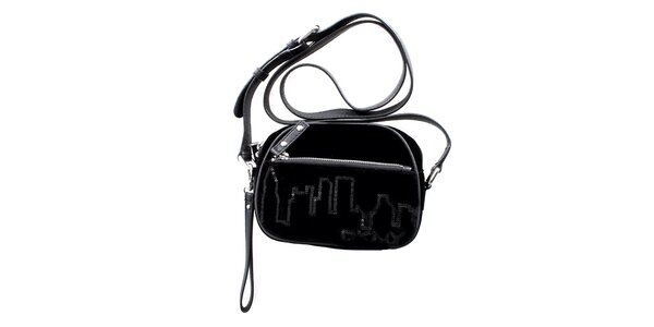 Dámská malá černá sametová kabelka DKNY