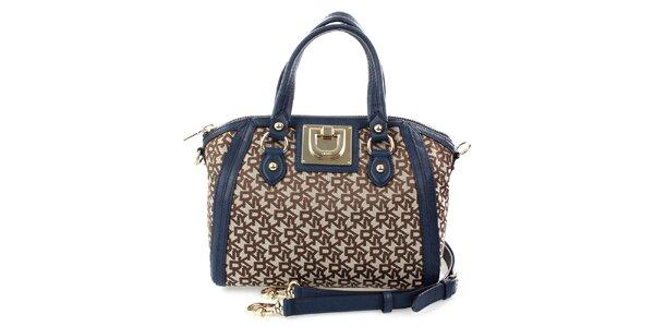 Dámská modro-hnědá kabelka s monogramem DKNY