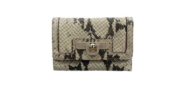 Dámská přírodně béžová peněženka s hadím vzorem DKNY