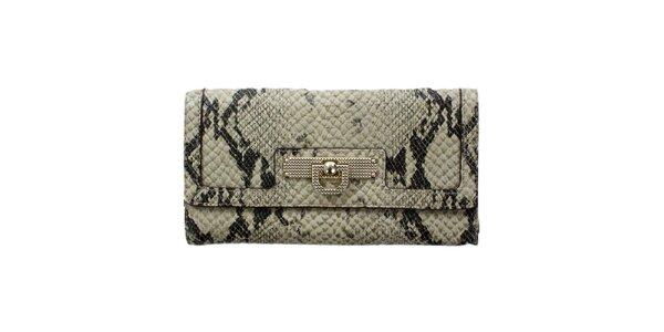 Dámská béžovo-šedá peněženka s hadím vzorem DKNY
