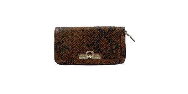 Dámská hnědá peněženka s hadím vzorem DKNY