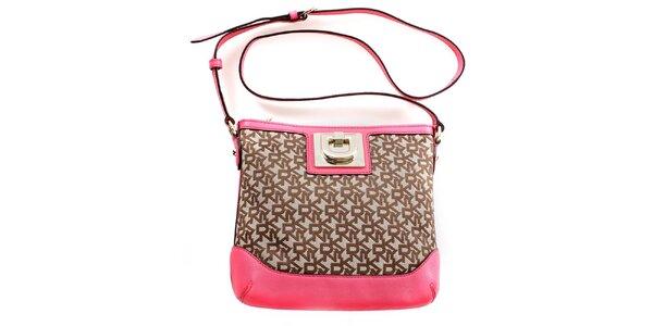 Dámská béžová kabelka s růžovými detaily DKNY