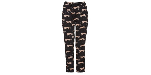 Dámské černé vzorované kalhoty s šelmami Yumi