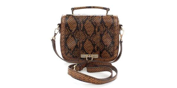 Dámská hnědá kabelka s hadím vzorem DKNY