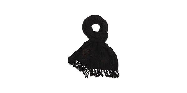 Dámská černá pletená šála s třásněmi True Religion