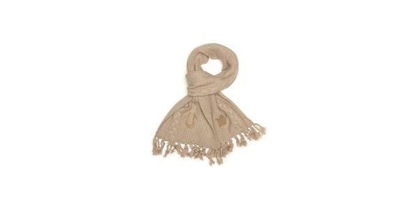 Dámská béžová pletená šála s třásněmi True Religion