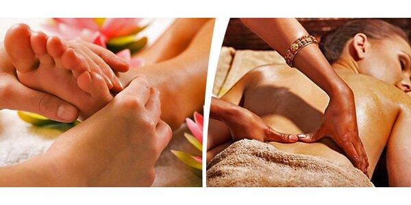 Breussova masáž páteře+masáž nohou a plosek teplým olejem