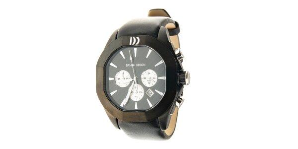 Černé ocelové hodinky Danish Design s černým koženým páskem