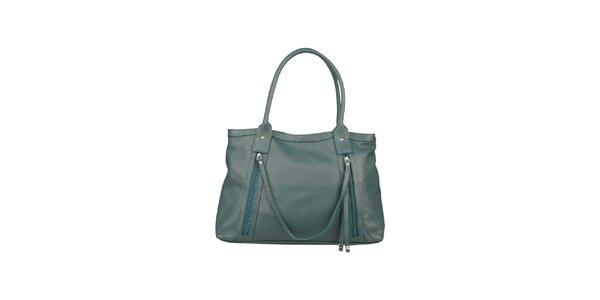 Dámská vodově modrá kabelka z kůže Made in Italia