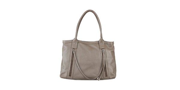 Dámská šedo-béžová kabelka z kůže Made in Italia