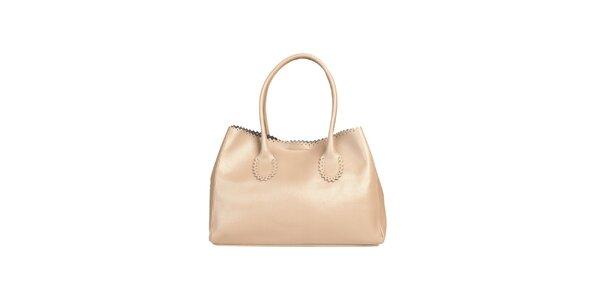 Dámská béžová kabelka s ozdobným lemem Made in Italia