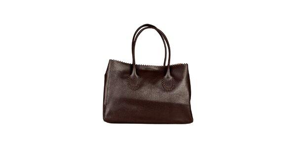 Dámská tmavě hnědá kabelka s ozdobným lemem Made in Italia